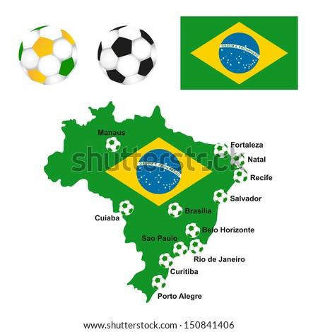 brazil map flag soccer field - stock vector