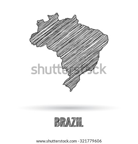 Brazil map hand draw - stock vector