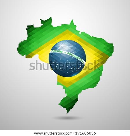 Brazil map in geometric style. Vector Illustration. - stock vector