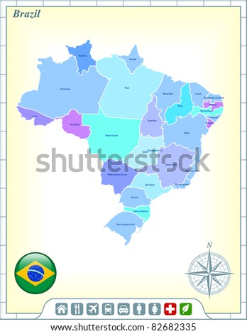 Brazil Map with Flag Buttons and Assistance & Activates Icons Original Illustration - stock vector