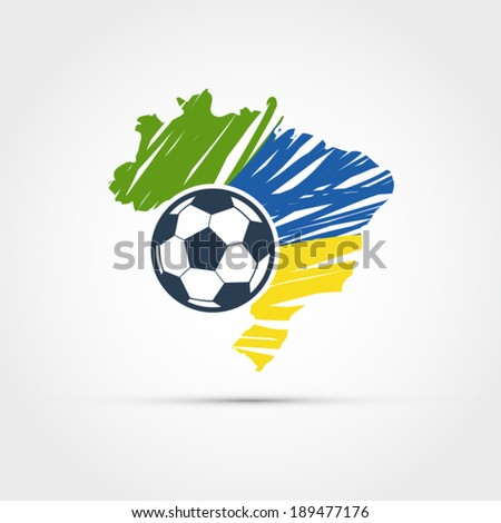 Brazil map with soccer ball illustration - stock vector