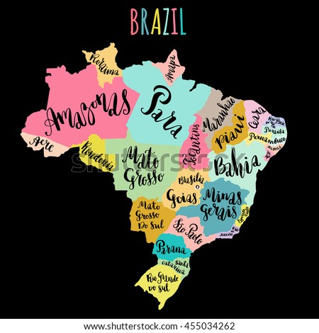 Brazil Map States Vector Illustration Hand Stock Vector 2018
