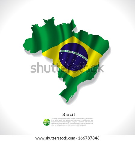 Brazil map with waving flag isolated against white background, vector illustration - stock vector