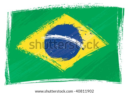 Brazil national flag created in grunge style - stock vector