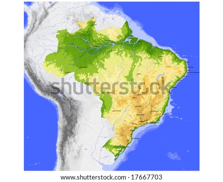 Brazil. Physical vector map, colored according to elevation, with rivers, ocean depths and selected cities. Surrounding territory greyed out. 32 layers, fully editable. Data source: NASA - stock vector