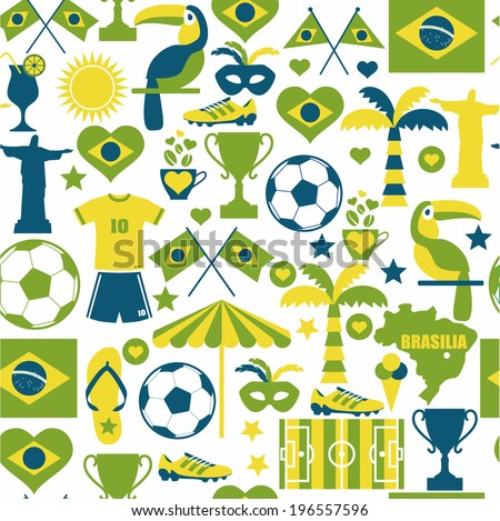 Brazil seamless background.  - stock vector