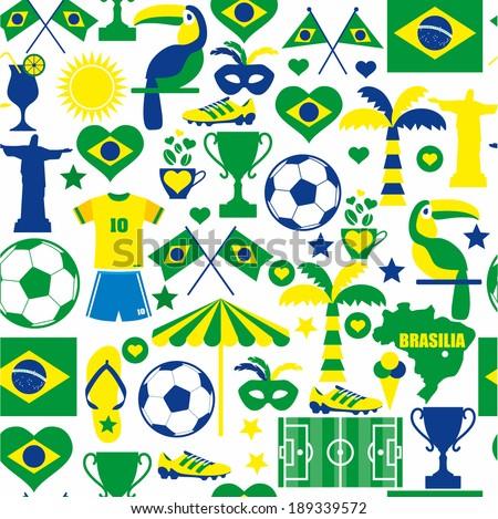 Brazil seamless pattern - stock vector
