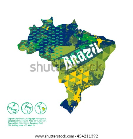 Brazil silhouette with abstract artistic texture inside. Vector illustration. - stock vector