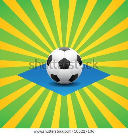 Brazil soccer ball card - stock vector