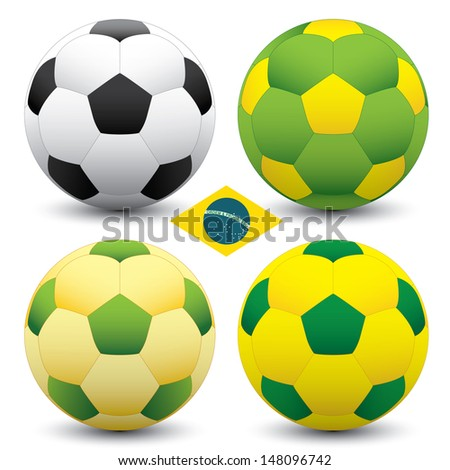 Brazil soccer ball set - stock vector
