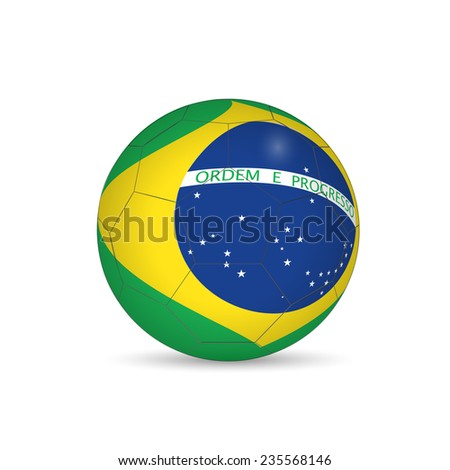 Brazil Soccer Ball Vector Illustration