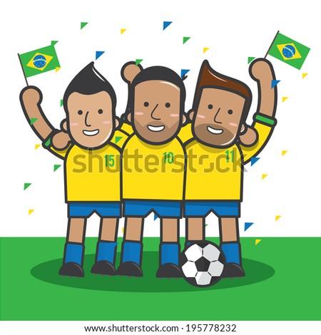 Brazil soccer player celebrate  - vector  - stock vector