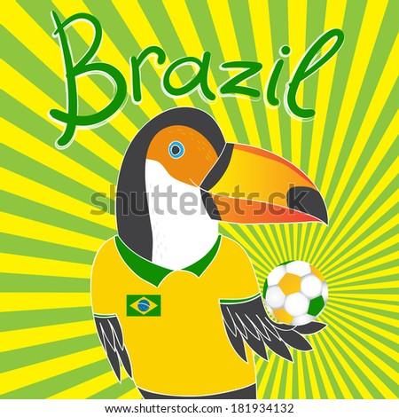 brazil soccer with toucan - stock vector
