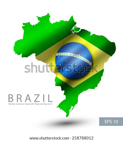 Brazil vector contour map with Brazil flag overlay on it. Vector illustration. EPS.10. - stock vector