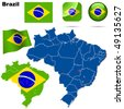 Brazil vector set. Detailed country shape with region borders, flags and icons isolated on white background. - stock photo
