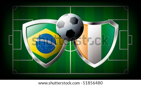 Brazil versus Cote d I voire abstract vector illustration isolated on white background. Soccer match in South Africa 2010. Shiny football shield of flag Brazil versus Cote d I voire - stock vector