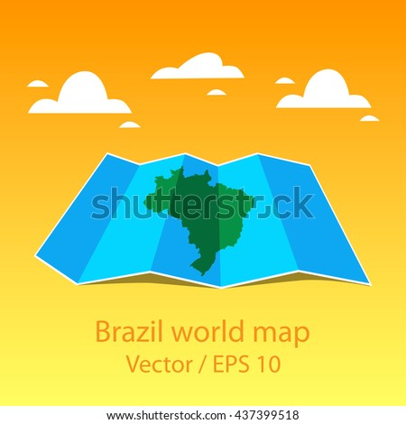Brazil world map folded paper maps stock vector 437399518 shutterstock gumiabroncs Choice Image