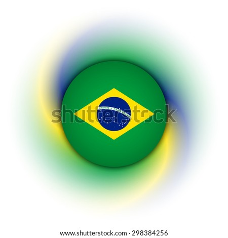 Brazilian badge on twisted green, blue and yellow background - stock vector