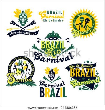 Brazilian Carnival. Big set of Brazilian templates for graphic modules, banners, posters, flyers, presentations. - stock vector