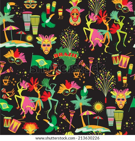 Brazilian Carnival. Vector colorful background. Seamlees pattern. - stock vector