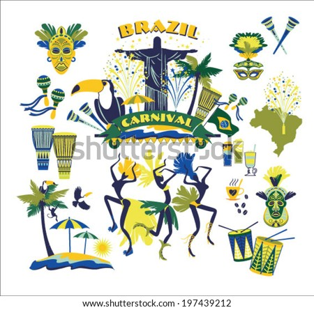 Brazilian Carnival. Vector icon set - stock vector