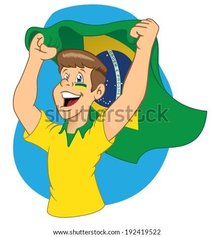 Brazilian fan cheering - stock vector