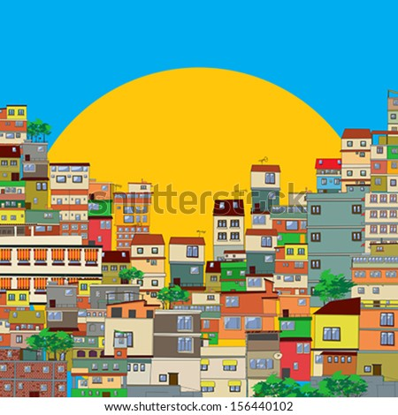 Brazilian favela  - stock vector