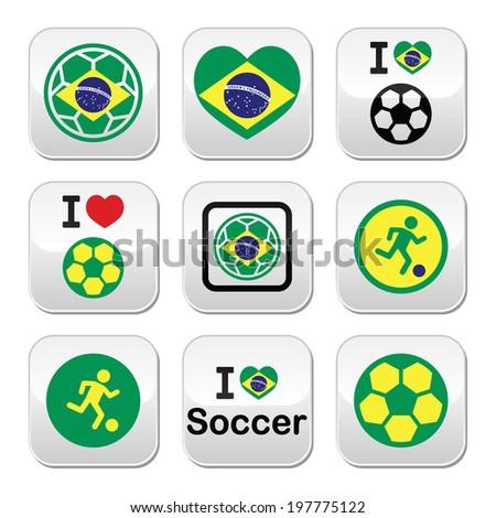 Brazilian flag, football or soccer ball buttons set - stock vector
