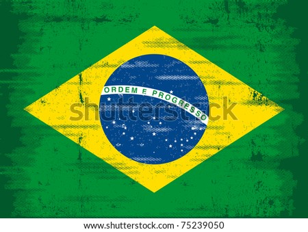 Brazilian grunge flag. A flag of Brazil with a texture. - stock vector