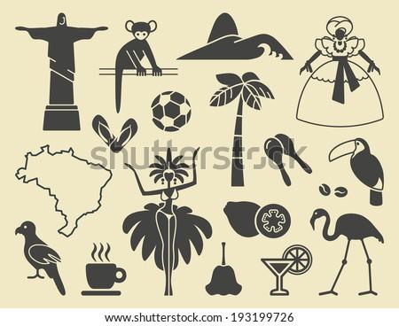 Brazilian icons - stock vector