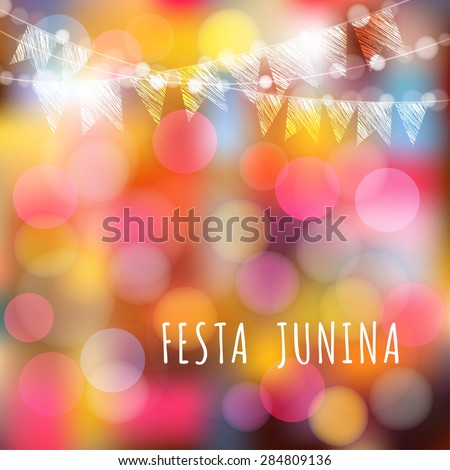 Brazilian june party, vector illustration background with garland of lights and flags - stock vector