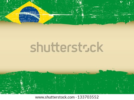 Brazilian scratched flag. A brazilian flag with a large frame for your message - stock vector