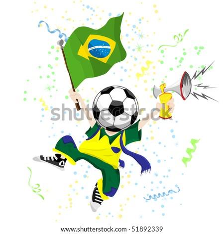 Brazilian Soccer Fan with Ball Head. Editable Vector Illustration - stock vector