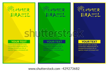 Brazilian summer  posters in colors of the Brazilian flag.  - stock vector