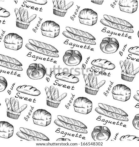 bread and bun. set of vector sketches - stock vector