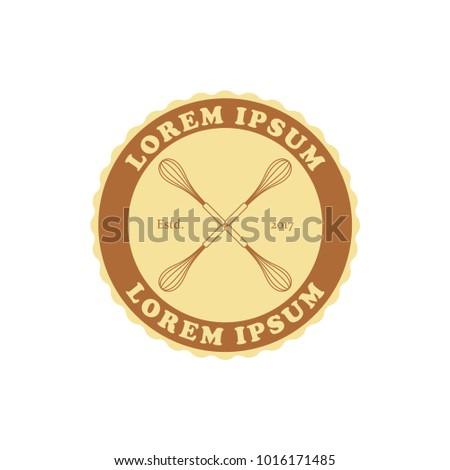 Bread Cake Maker Logo Design Template Stock Vector - Badge maker template