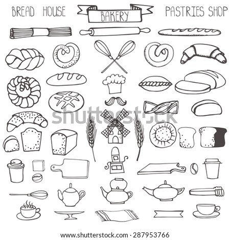 Bread bakery Doodle vector.Pastries  icons set.Linear utensils,tableware, cookware vintage elements for logo,label,menu,cafe shop. Flat hand drawn isolated items. - stock vector