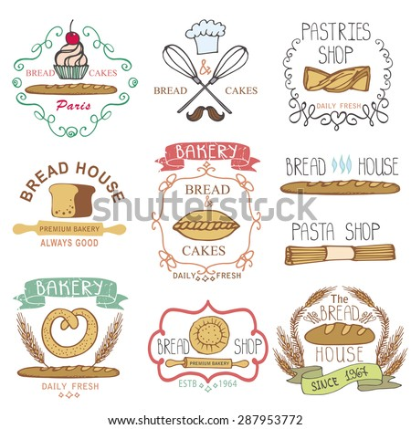 Bread bakery.Vintage Retro Bakery Badges,Labels,logos.Colored hand sketched doodles design elements (bread, loaf, wheat ear, cake icons). Vector logotypes,stickers for bread shop,pastries house - stock vector