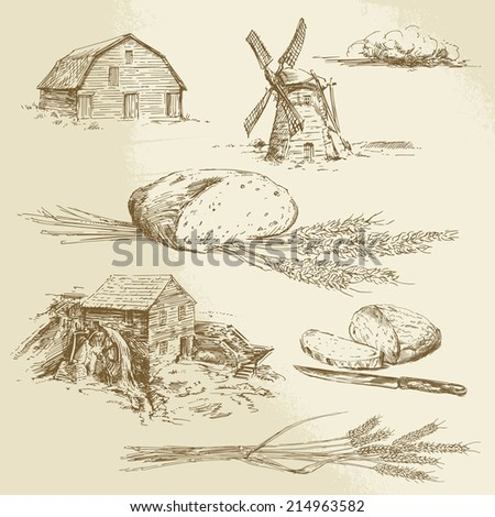 bread, farm, windmill and watermill - hand drawn illustration - stock vector