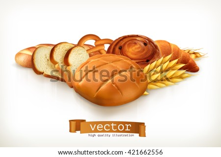 Bread, vector illustration isolated on white - stock vector