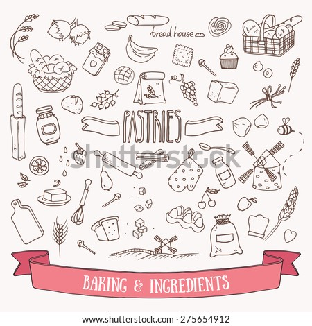 Bread, pastry and baking ingredients doodle set. Hand drawn vector illustration. - stock vector