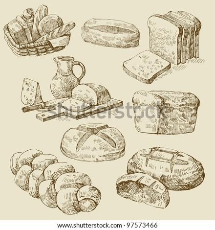 bread set - stock vector