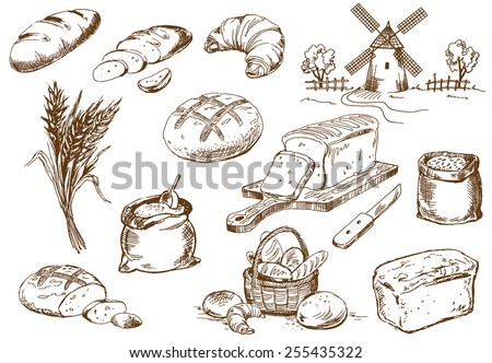 Bread set. Pen sketch converted to vectors. - stock vector