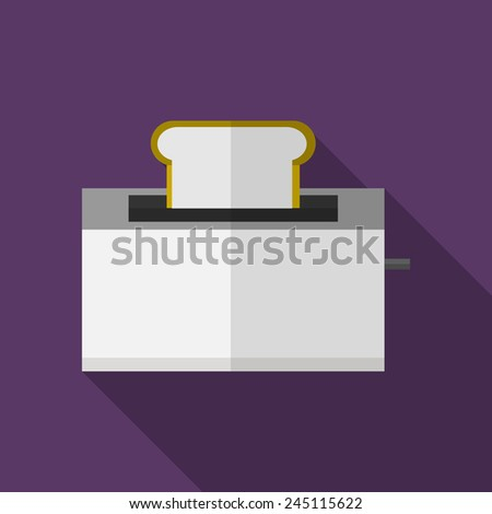 Bread toaster flat vector icon. Flat vector icon with gray steel modern toaster with bread on purple background. Long shadow design. - stock vector