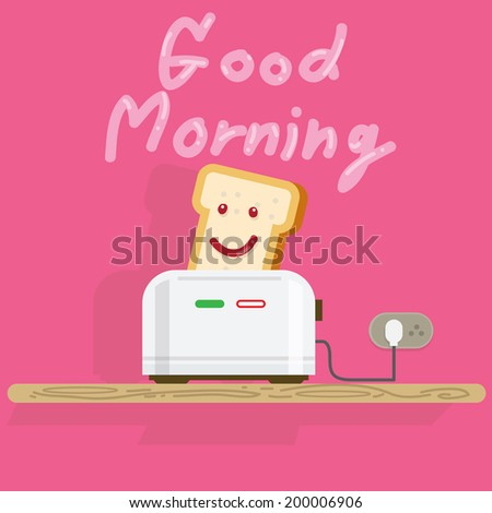 bread toaster with smiling bread. good morning - vector illustration - stock vector