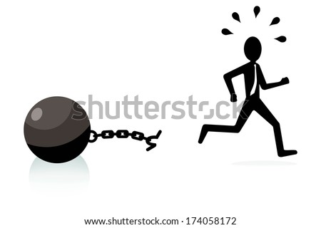 break free concept, man breaking chains and escaping  - stock vector