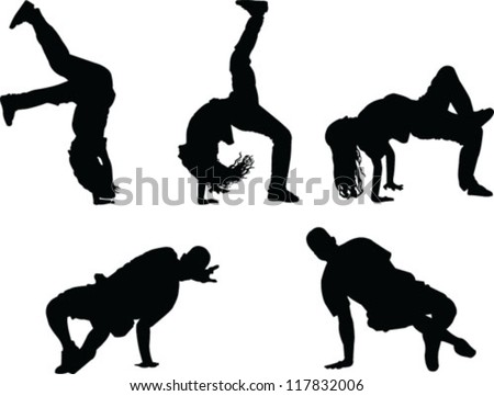 breakdance silhouette collection - vector - stock vector