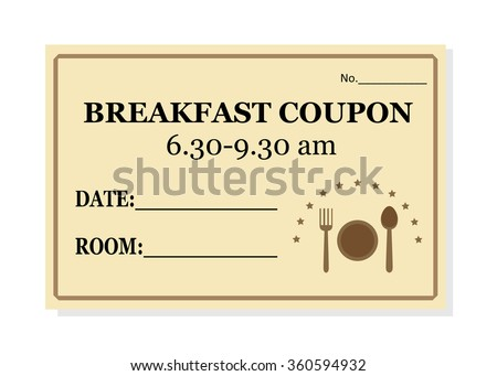 Breakfast Coupon Template For Hotel Isolated On White Background Vector  Coupon Template