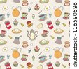 Breakfast doodle seamless pattern hand drawn - stock vector