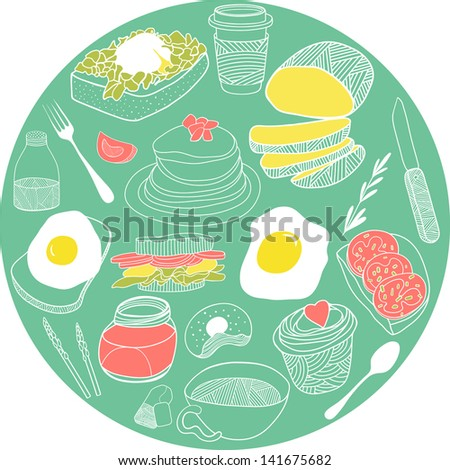 Breakfast elements collected in the circle. Vector illustration set. Hand drawn food theme for backgrounds, fabric, kitchen and cafe stuff. - stock vector